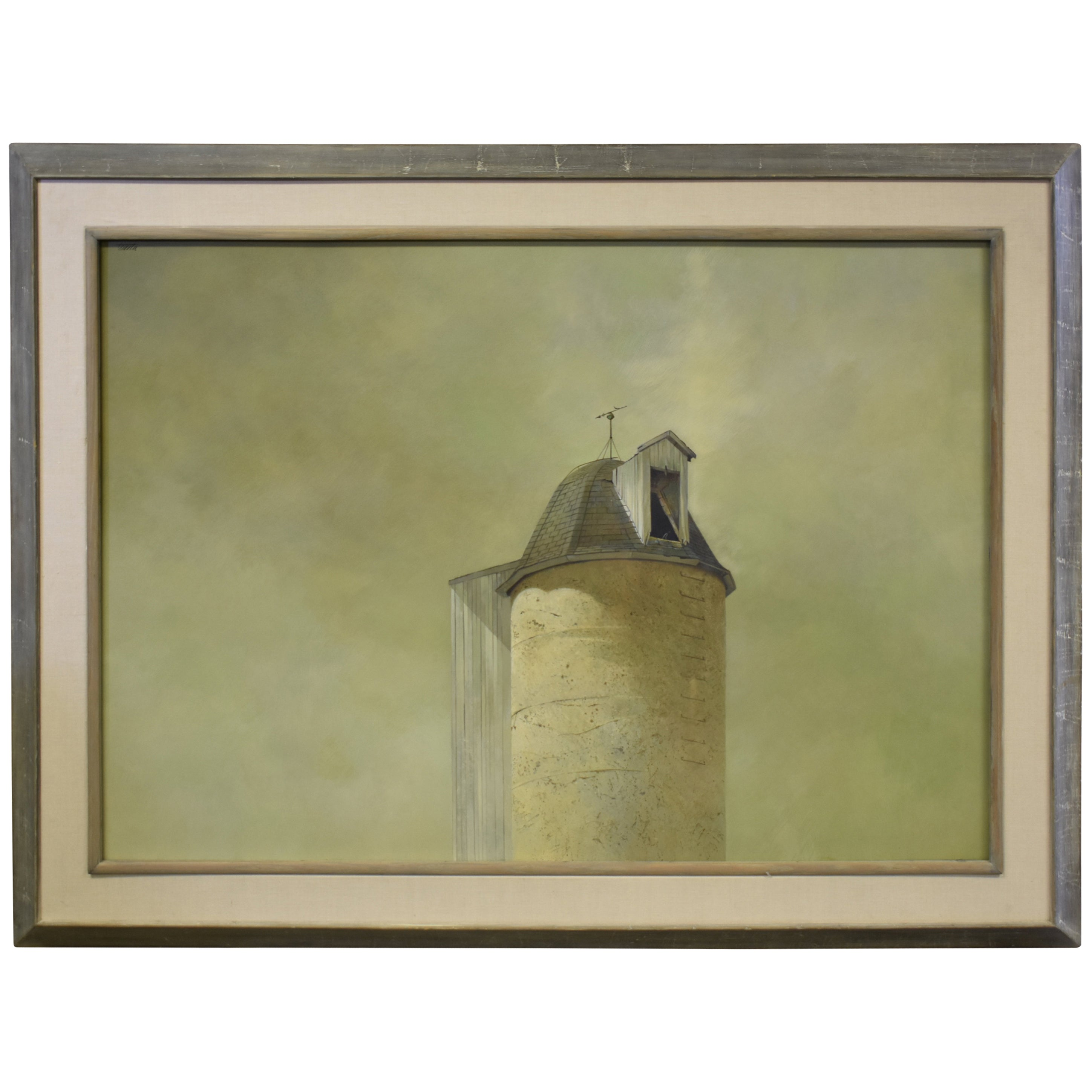 Original Painting Oil on Board Richard Treaster Silo with Weathervane
