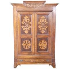 19th Century Italian Charles X Walnut Inlaid Wood Wardrobe, Armoire, 1825s