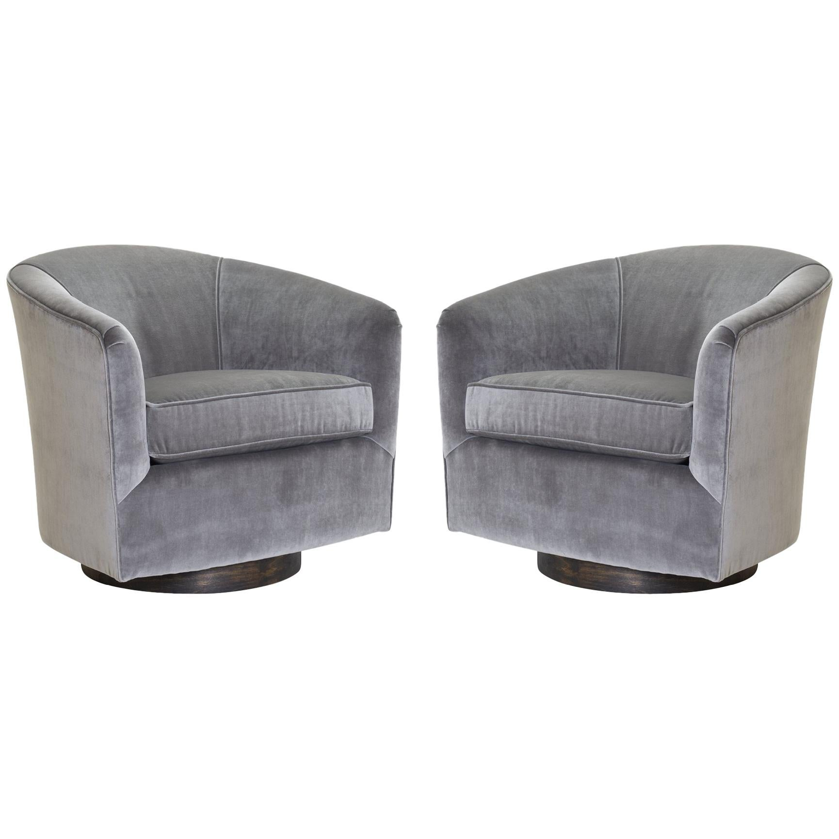 Pair Of Swivel Tub Chairs In Fog Velvet And Walnut Bases