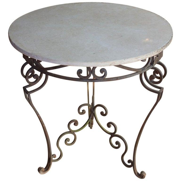 Antique Art Nouveau Marble Garden Table