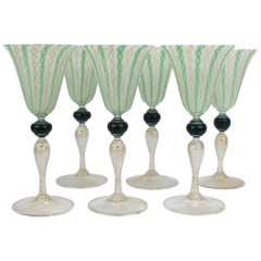 Set of Six Venetian Glass Green White and Gold Latticino Swirl Goblets