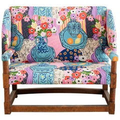Antique English Winged Settee with Floral Upholstery