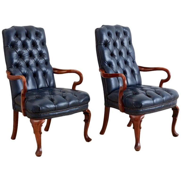 Pair of Regency Style Tufted Blue Library Chairs