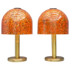 Pair of Glass and Brass Table Lamps by Peil & Putzler Germany 1970s