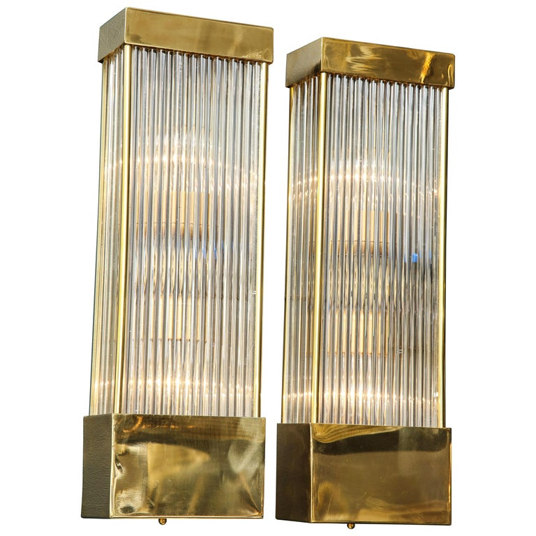 Large Pair of Brass and Murano Glass Rectangular Sconces, Italy For Sale