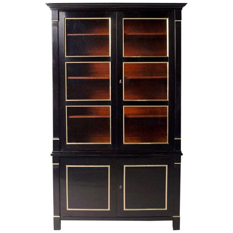 Neoclassical Style French Ebonised Bookcase
