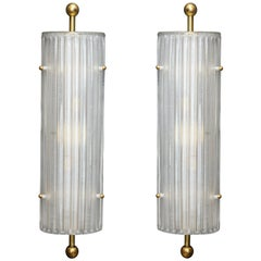 Pair of Murano White Ribbed Glass and Brass Finial Sconces