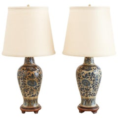 Pair of Chinoiserie Blue and White Lamps by Marbro