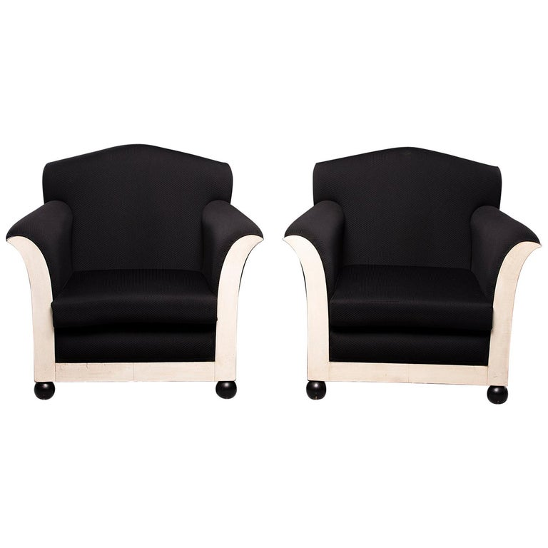 Pair of French Vellum Edged Art Deco Club Chairs For Sale