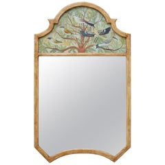 Chinoiserie Style Reverse Painted Trumeau Mirror