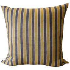 Yellow Grey Striped Linen Pillow French Early 20th Century