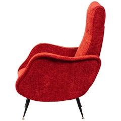 Italian Mid-Century Modern Lounge Chair in Vibrant Woven Red