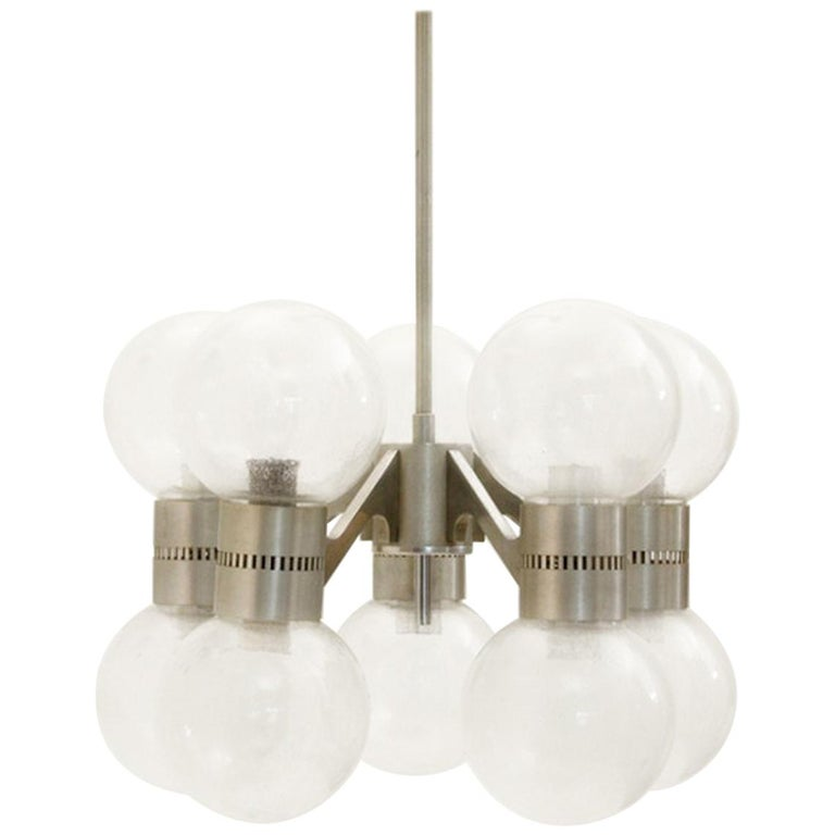 Glass Chandelier in the Style of Sciolari, Italy, 1960s