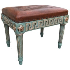 Pair of Neoclassical Painted Stools with Greek Key