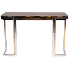 French Moderne Faux Marble Console With Chrome Legs