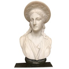 Carve Roman Marble Bust of Ceres by Clerici