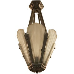 French Art Deco Chandelier Signed by Degue