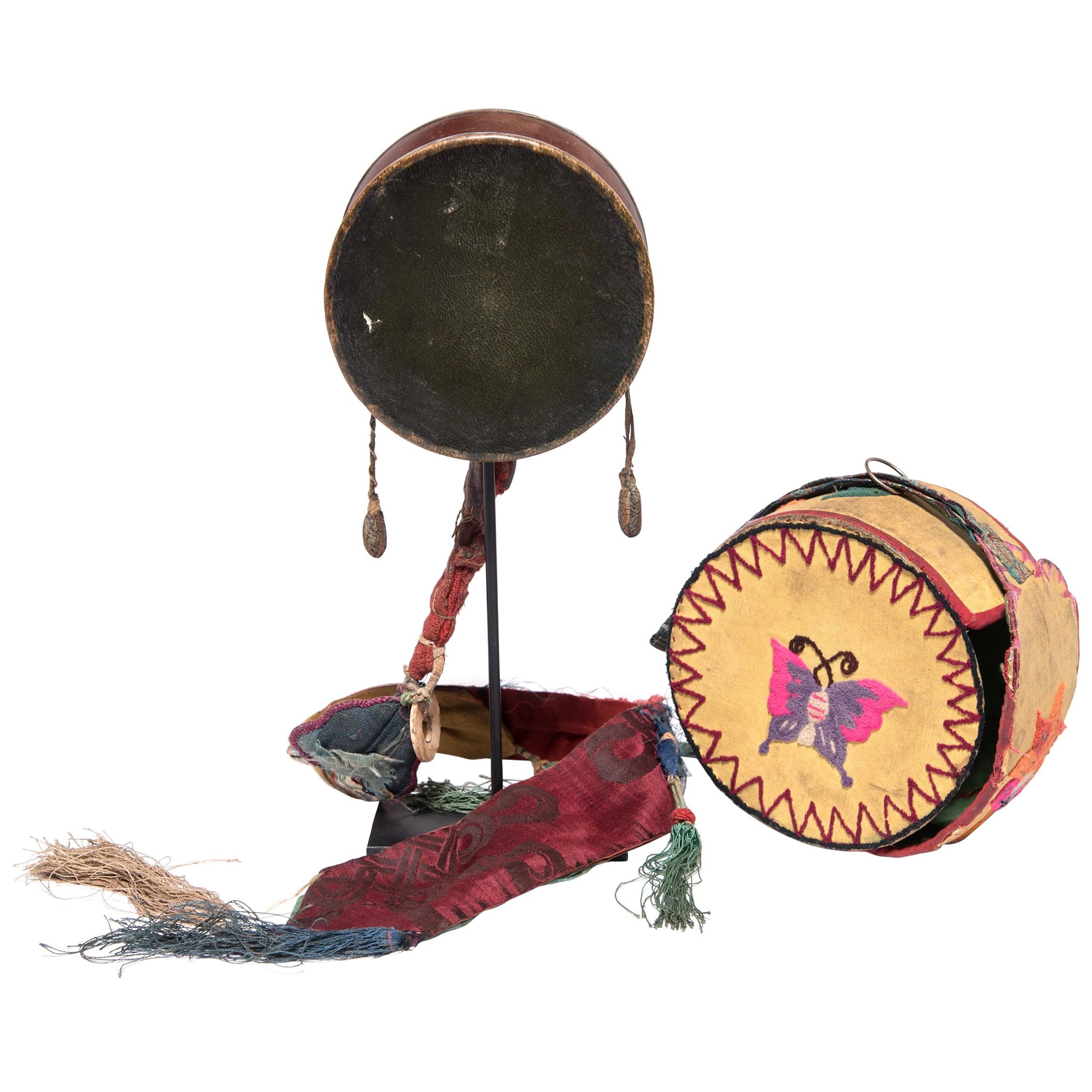 Tibetan Damaru Drum on Stand