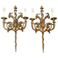 Pair of Incredible Neoclassical Ornate Giltwood Sconces