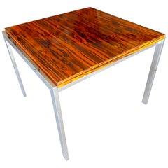 Macassar Ebony and Chrome Flip-Top Card Table