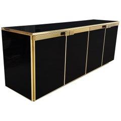 Black Glass, Brass Detailed Credenza