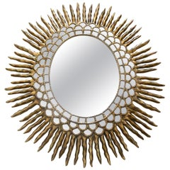 Large Sunburst Oval Giltwood Spanish Colonial Wall Mirror