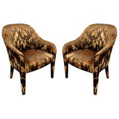"Karl Springer Pair of ""Upholstered Chairs"" 1980s"
