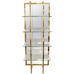 Mid-Century Modern Brass Mirror Glass Shelving Unit Baughman Style Four Shelf