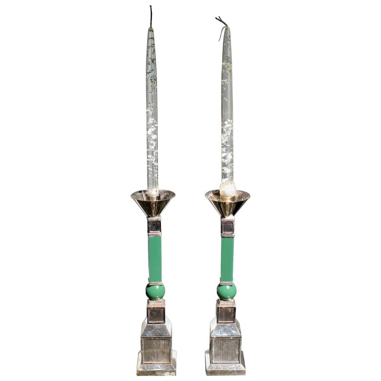 Mid-Century Modern Gucci Pair of Silver Plated Candlesticks Green Resin, 1970s