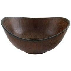 Rörstrand, Gunnar Nylund Ceramic Bowl, Beautiful Glaze in Brown Shades