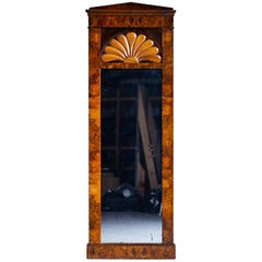 Tall Antique German Biedermeier Walnut Mirror circa 1830