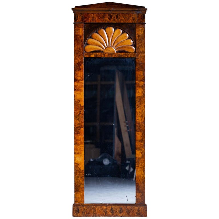 Tall Antique German Biedermeier Walnut Mirror circa 1830 For Sale