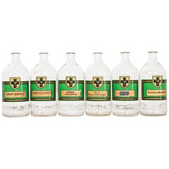 Set of Six French Vintage Apothecary Bottles