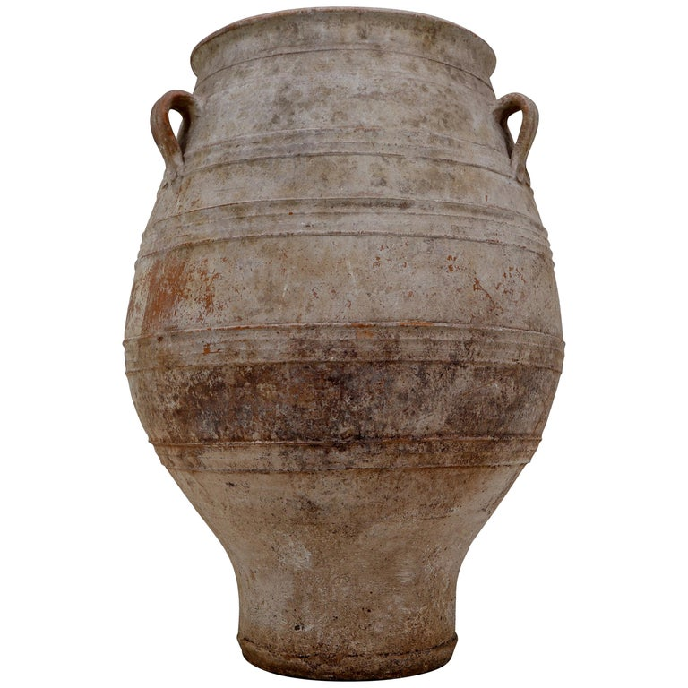 Extreme Large Three-Handled Painted Terracotta Urn From The Early-20th Century.