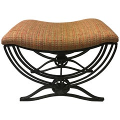 Art Deco Style Hand-Forged Iron Upholstered Bench