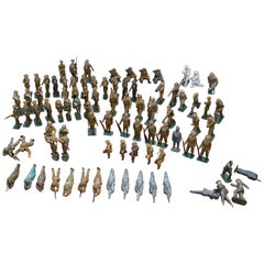 Rare Set of World War I Antique Toys Military Soldiers 87 Mixed Pieces Rare Find