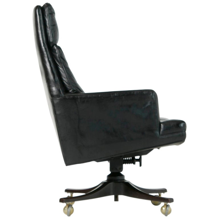 Edward Wormley for Dunbar Executive Highback Leather Desk Chair, circa 1960