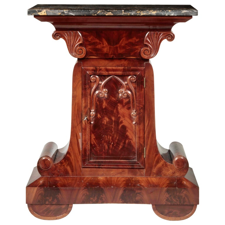 Gothic Revival Marble-Top Mahogany Mixing Table For Sale