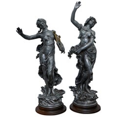Pair of Signed Tall French Silver Plated Maiden Statues French Neoclassical