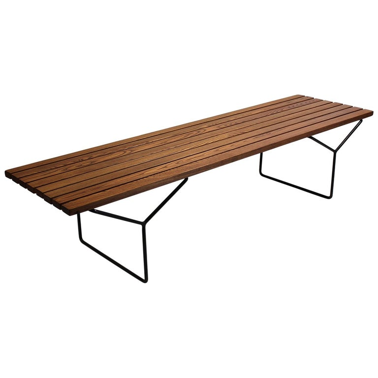 Early Harry Bertoia Wood Slat Bench for Knoll International, circa 1960 For Sale
