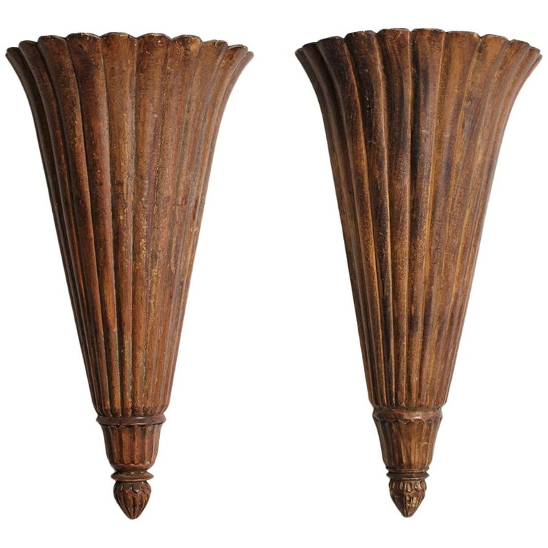 Antique French Art Deco Carved Wood Wall Shelves Sconces For Sale