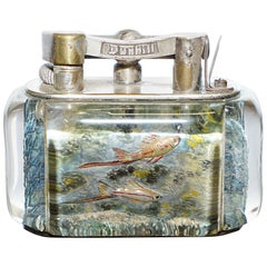 1950s Dunhill Aquarium Oversized Table Lighter Made in England Chrome Deep Sea