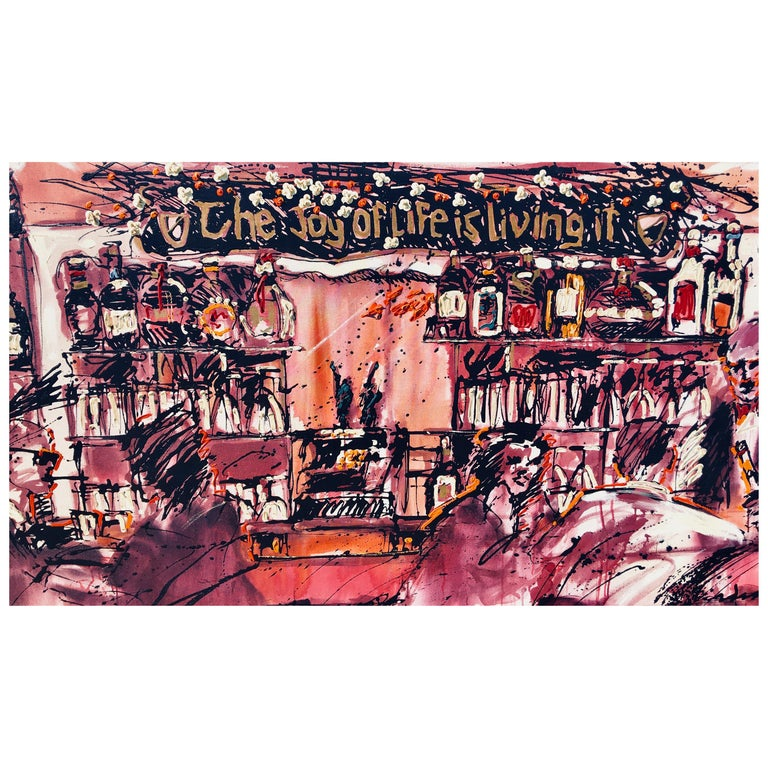 This giant sized, monumental, (unframed - no frame required) contemporary, original acrylic on canvas painting is an abstract rendering of the bar area of The Arches, an iconic Newport Beach, California watering hole and restaurant which was