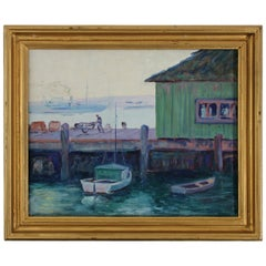 Listed California Artist Bess Gilbert Oil Painting San Diego Harbor Pier, 1930s