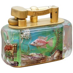 Rare Gold-Plated 1950s Dunhill Aquarium Oversized Table Lighter Made in England