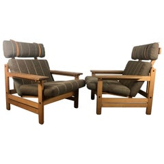 Stunning Pair Paddle Arm Lounge Chairs by Aksel Dahl, Denmark, 1960s