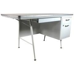 Modernist Lacquered Steel Desk, Metal Industrial