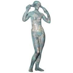 Very Rare 200-300 AD Roman Bronze Statue of Italian Nude Lady Stunning Patina