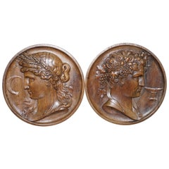 Pair of Solid Walnut Hand-Carved Grand Tour Plaques God Apollo & Goddess Ceres