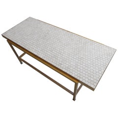 Brass Coffee Table with Glass Mosaic Top by Edward Wormley for Dunbar